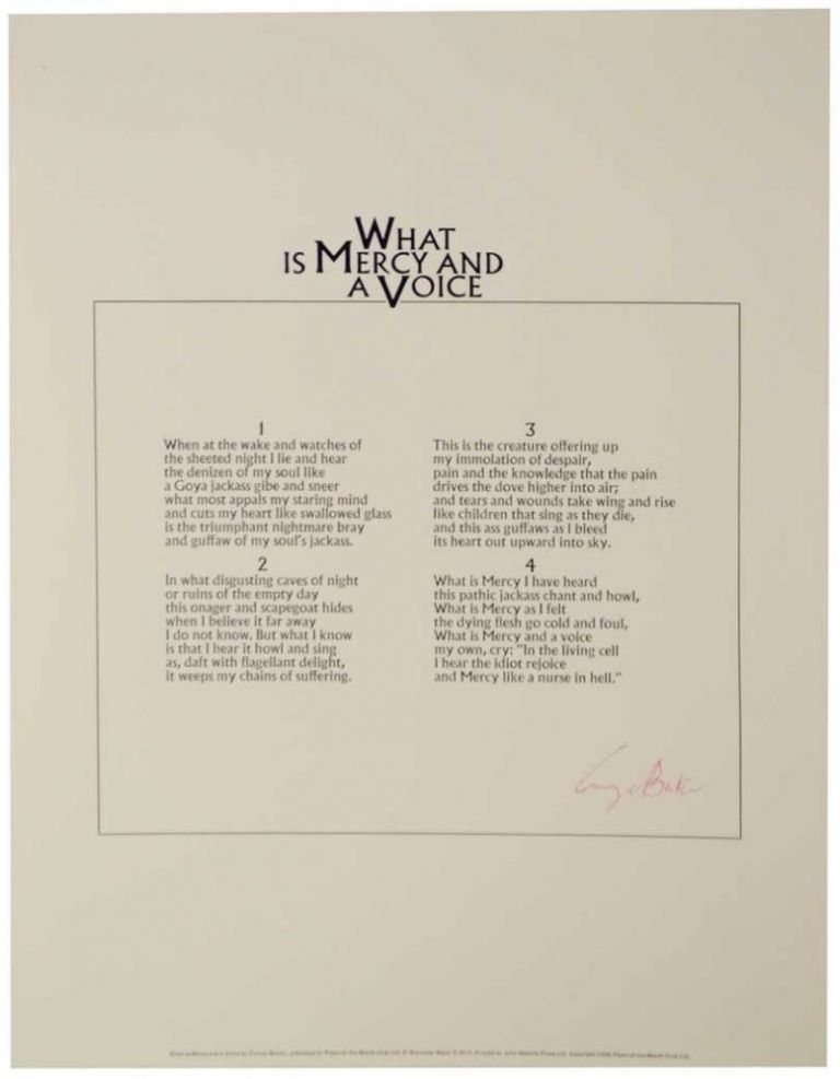 What is Mercy and a Voice (Signed Broadside). George BARKER.