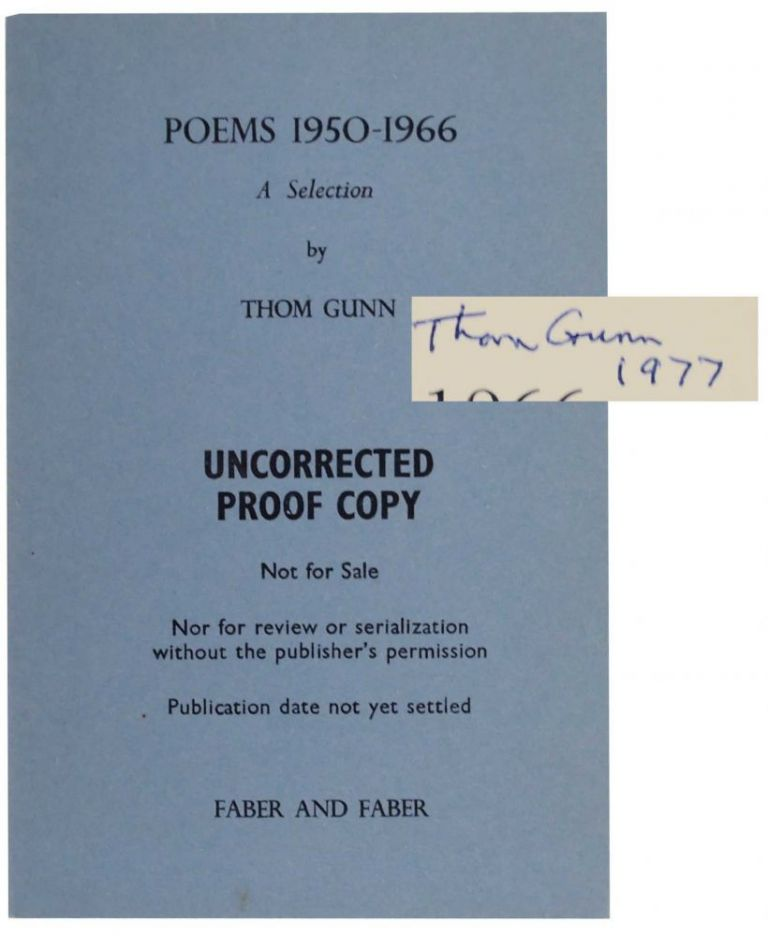Poems 1950-1966: A Selection (Signed). Thom GUNN.