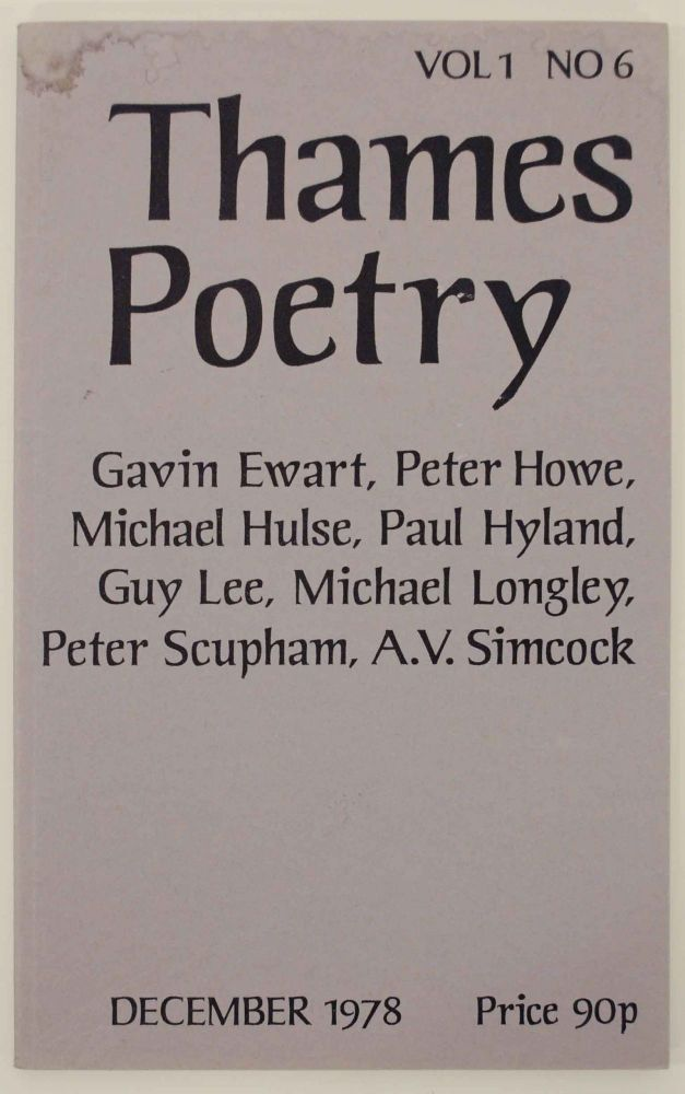 Thames Poetry Vol I No. 6 December 1978. A. A. CLEARY.