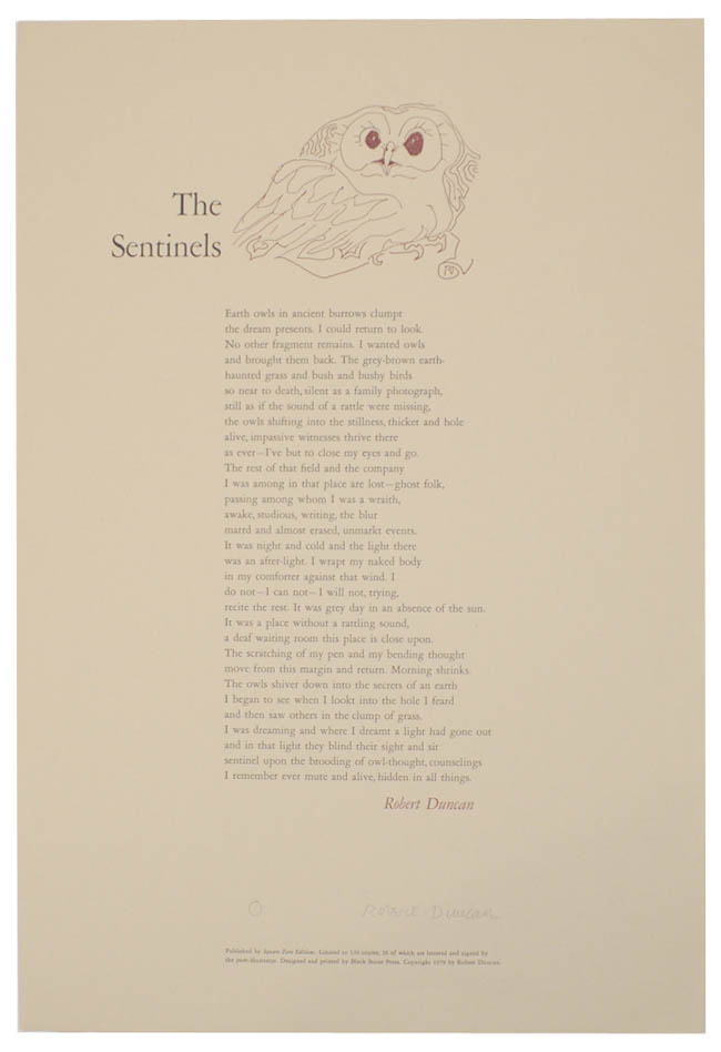 The Sentinels (Signed Broadside). Robert DUNCAN.