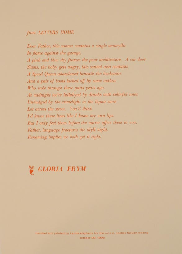 from Letters Home. Gloria FRYM.