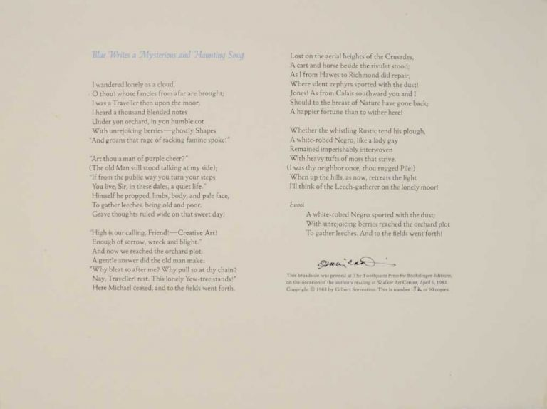 Blue Writes a Mysterious and Haunting Song (Signed Broadside). Gilbert SORRENTINO.