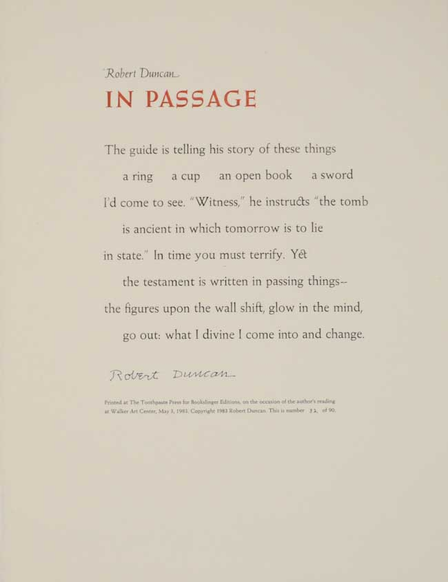In Passage (Signed Broadside). Robert DUNCAN.