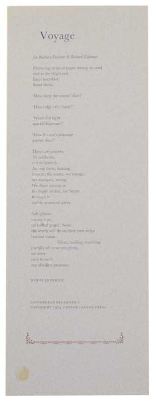 Voyage (Broadside). Denise LEVERTOV.