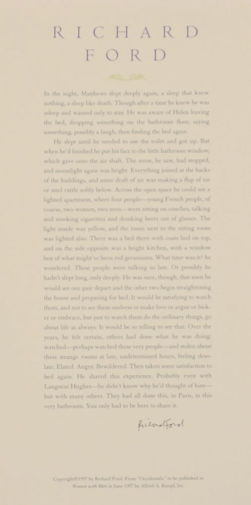 from Occidentals (Signed Broadside). Richard FORD.