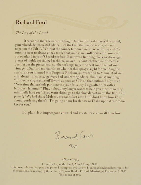 The Lay of The Land (Signed Broadside). Richard FORD.