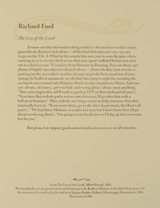 The Lay of The Land (Broadside). Richard FORD.