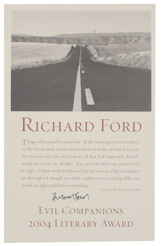 excerpt from Rock Spring - Evil Companions 2004 Literary Award (Signed Broadside). Richard FORD.