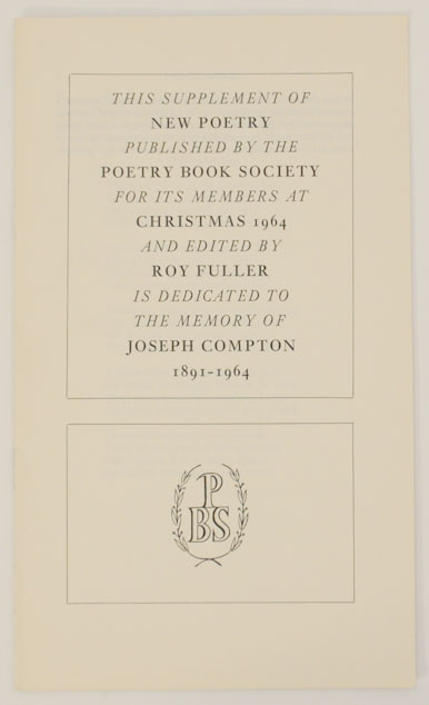 Supplement to New Poetry. Roy FULLER, John Fuller Nissim Ezekiel, Peter Levi, P. J. Kavanagh, Francis Hope, Hugo Williams.