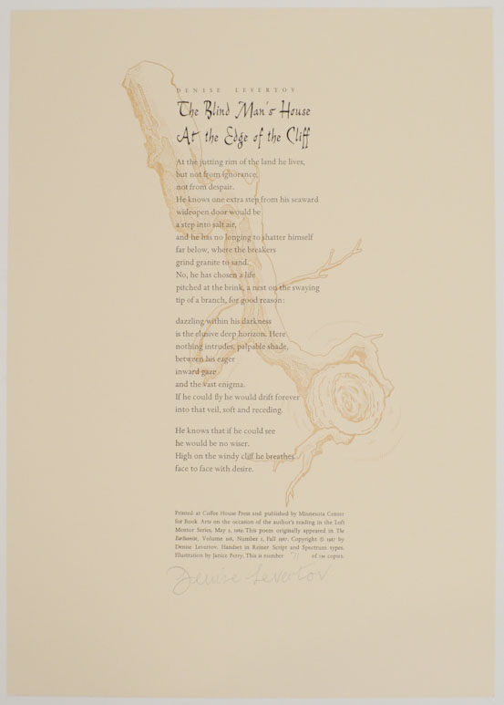 The Blind Man's House At The Edge of The Cliff (Signed Broadside). Denise LEVERTOV.