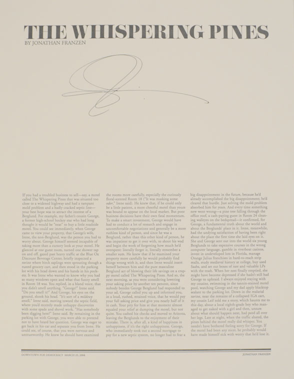 The Whispering Pines (Signed Broadside). Jonathan FRANZEN.
