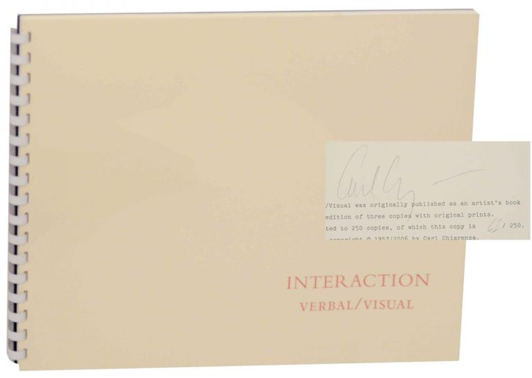 Interaction Verbal/Vision (Signed First Edition). Carl CHIARENZA, Estelle Jussim.