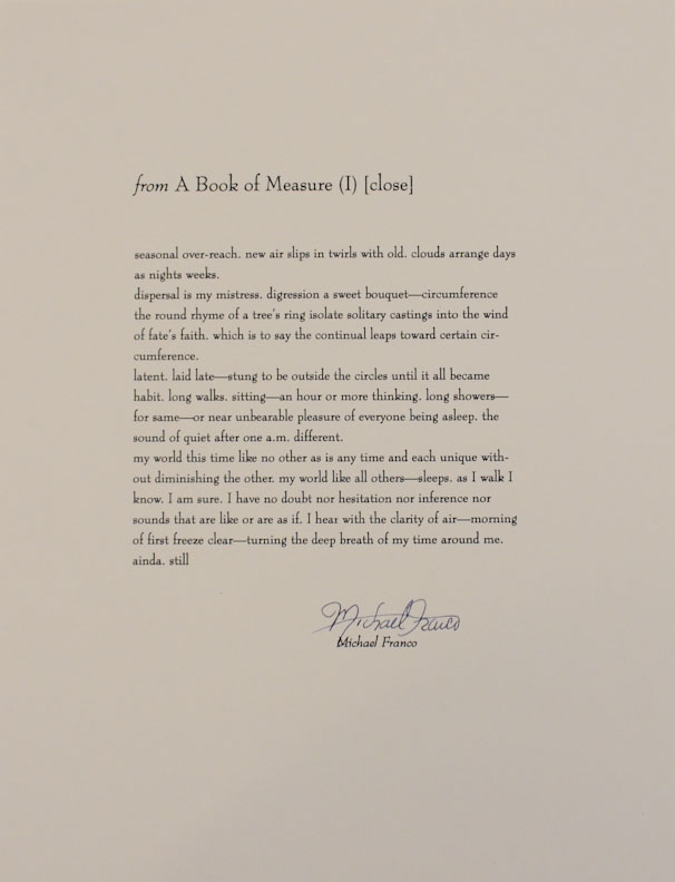 from A Book of Measure (I) [close] (Signed Broadside). Michael FRANCO.