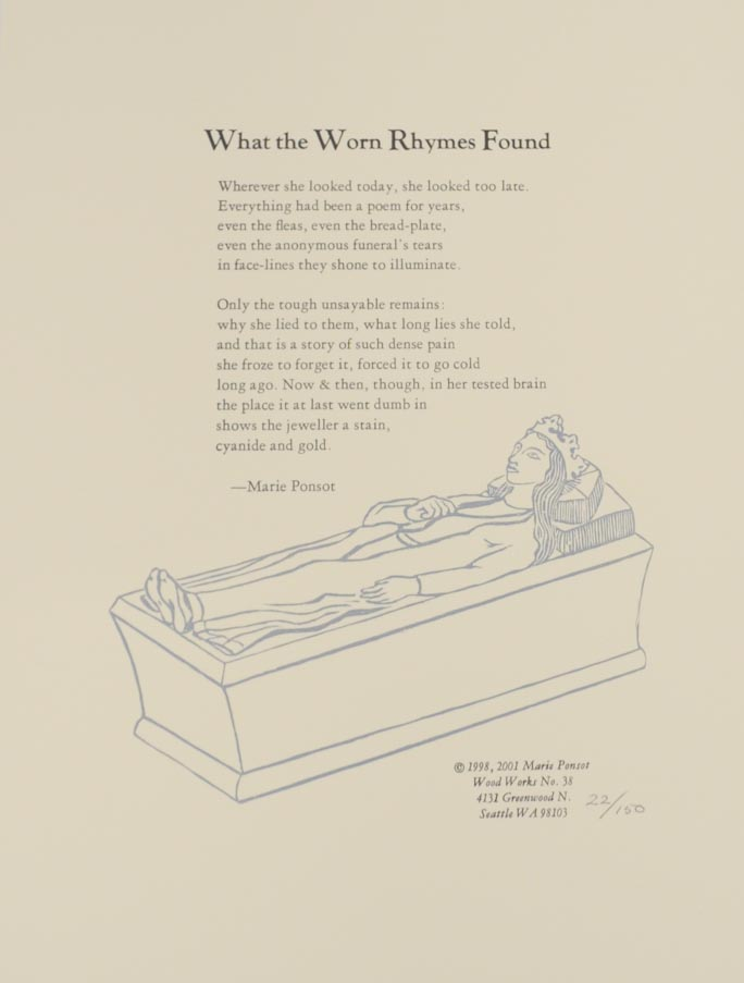 What the Worn Rhymes Found. Marie PONSOT.