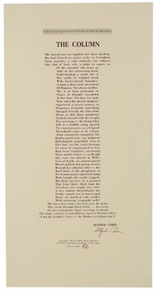 The Column (Signed Broadside First Edition). Alfred CORN
