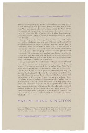 from Tripmaster Monkey: His Fake Book (Broadside). Maxine Hong KINGSTON