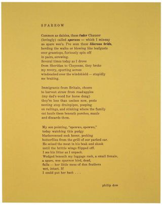 Sparrow (Broadside). Philip DOW