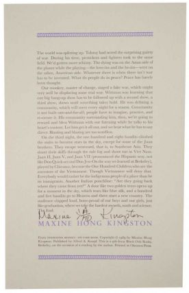 from- Tripmaster Monkey: His Fake Book (Signed Broadside). Maxine Hong KINGSTON