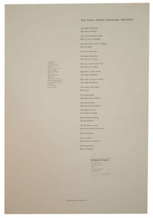 The Poem Called Alexander Hamilton (Signed Broadside). Edward DORN