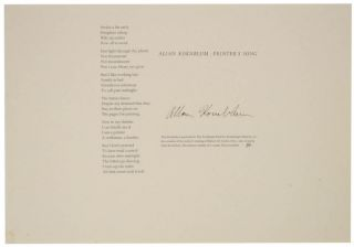 Printer's Song (Signed Broadside). Allan KORNBLUM