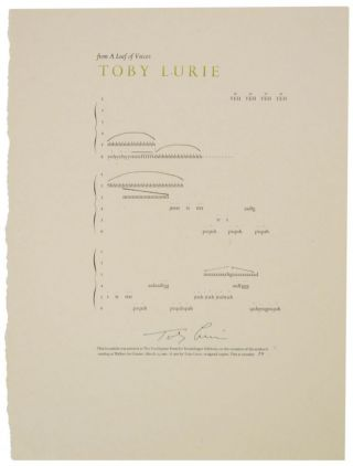from A Leaf of Voices (Signed Broadside). Toby LURIE