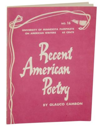 Recent American Poetry. Glauco CAMBON
