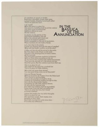 In The Basilica of the Annunciation (Signed Broadside). D. J. ENRIGHT
