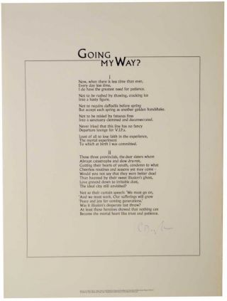 Going My Way (Signed Broadside). C. Day LEWIS