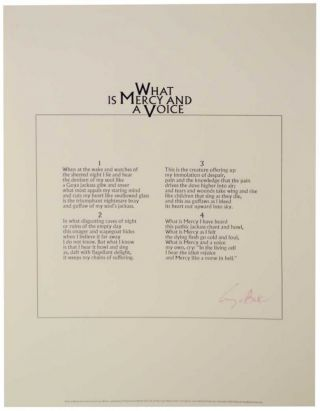 What is Mercy and a Voice (Signed Broadside). George BARKER