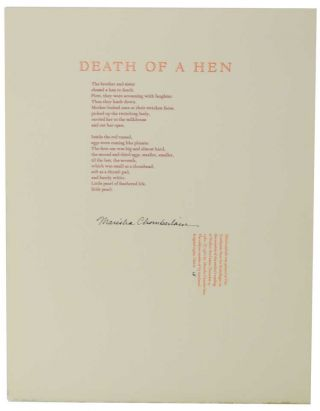 Death of a Hen (Signed Broadside). Marisha CHAMBERLAIN