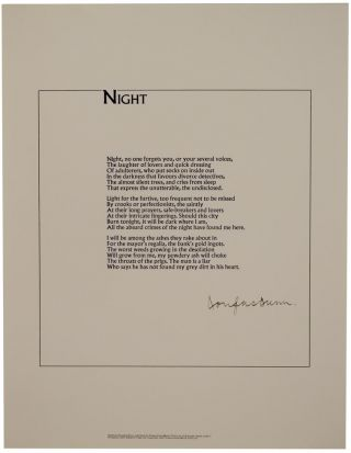 Night (Signed Broadside). Douglas DUNN
