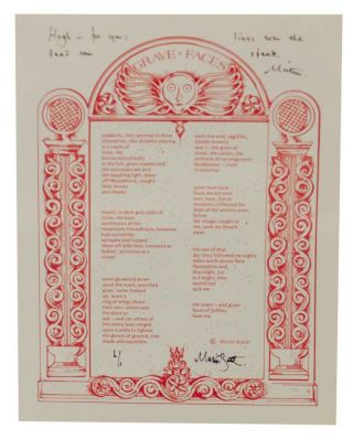 Grave Faces (Signed Broadside). Martin BOOTH