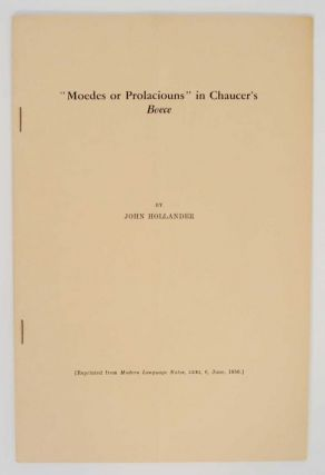 Moedes or Prloaciouns in Chaucer's Boece. John HOLLANDER
