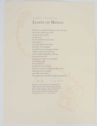 Leaves of Nerves (Signed Broadside). Andrei CODRESCU