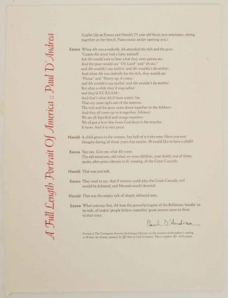 A Full Length Portrait of America (Signed Broadside). Paul D'ANDREA