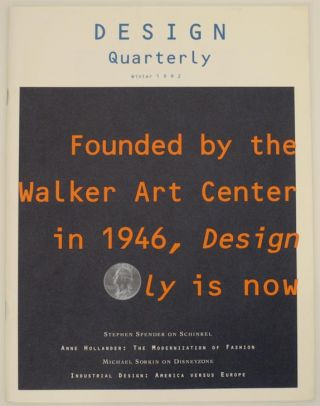 Design Quarterly 154 Winter 1992. Martin FILLER, Michael Sorkin Stephen Spender, Terence Riley,...