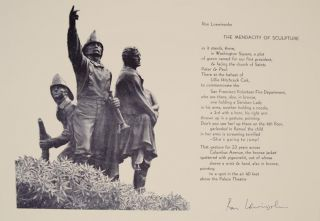 The Mendacity of Sculpture (Signed Broadside). Ron LOEWINSOHN