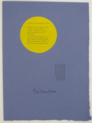 One of My Trees Has Caught the Moon (Signed Broadside). Michael Dennis BROWNE