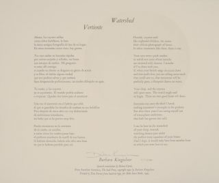 Watershed - Vertiente (Signed Broadside). Barbara KINGSOLVER