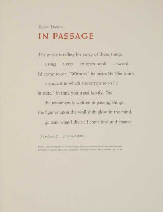 In Passage (Signed Broadside). Robert DUNCAN