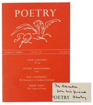 Poetry Volume 110 Number 5 August 1967 (Signed First Edition). Louis ZUKOFSKY, Henry Rago, Guy...