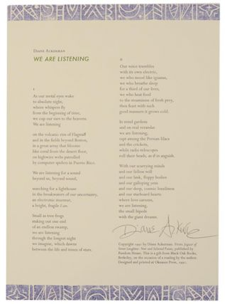 We are Listening (Signed Broadside). Diane ACKERMAN
