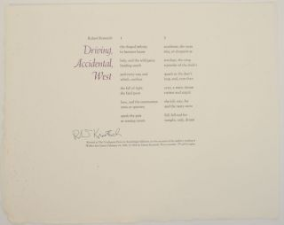 Driving, Accidental West (Signed Broadside). Robert KROETSCH