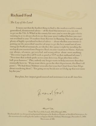 The Lay of The Land (Signed Broadside). Richard FORD