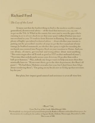 The Lay of The Land (Broadside). Richard FORD