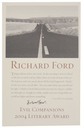 excerpt from Rock Spring - Evil Companions 2004 Literary Award (Signed Broadside). Richard FORD