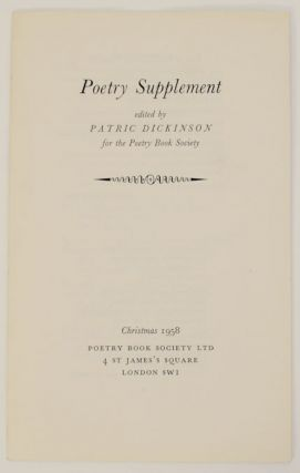 Poetry Supplement. Patric DICKINSON, Hal Summers Frances Cornford, Jacques Prevert, Diana...