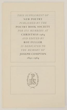 Supplement to New Poetry. Roy FULLER, John Fuller Nissim Ezekiel, Peter Levi, P. J. Kavanagh,...
