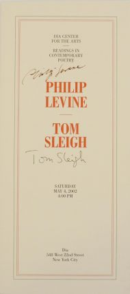 Dia Center for the Arts Reading in Contemporary Poetry (Signed Broadsides). Philip LEVINE, Tom...