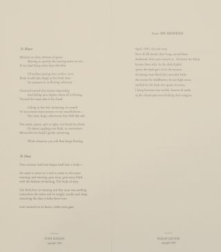 Dia Center for the Arts Reading in Contemporary Poetry (Signed Broadsides)